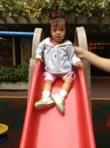 This hotel has been amazing, they have a little playground on the 4th floor for the kids!  Amelia loves the slide!